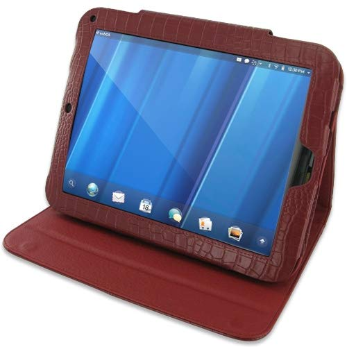 PDair Handarbeit Leder Folio Stand Hülle for HP TouchPad (Red Crocodile Pattern)