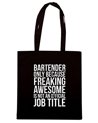 T-Shirtshock - Borsa Shopping BEER0165 Bartender - Only Because Freaking Awesome is Not a Job Title Nero