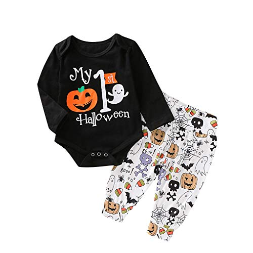 Julhold Neugeborenes Baby Mädchen Jungen Mode Lässig Kürbis Strampler Baumwolle Tops Hosen Halloween Outfits Set 3-24 Monate