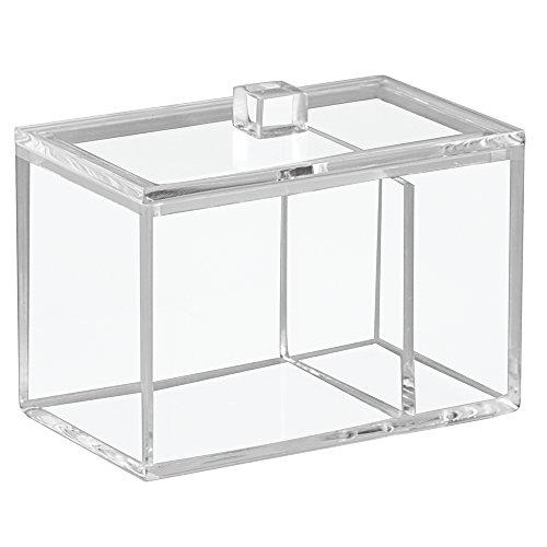 InterDesign Luci caja almacenamiento con tapa | Bote para discos desmaquillantes y bolas de algodón con dos compartimentos | Accesorios para baños en plástico transparente