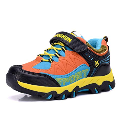 Jungenschuhe Wasserdicht Wanderschuhe für Jungen Bequeme Trekkingschuhe Kinder Schuhe Jungen Outdoor Sportschuhe Laufschuhe Sneakers Fitnessschuhe für Unisex Kinder Schwarz Orange 26