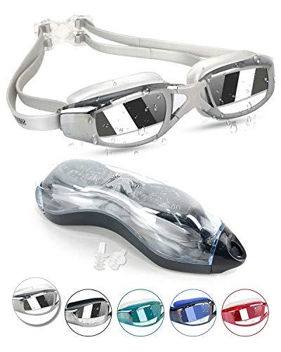 Kodior Schwimmbrille - Schwimmbrillen für Erwachsene Anti-Fog mit Antibeschlag und UV Taucherbrille für Männer Frauen Erwachsene Unisex Training Freizeit (SilberAsche)