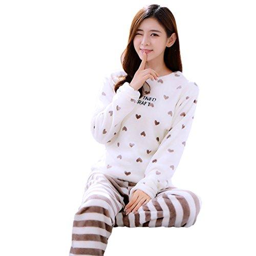 YOUJIA 2 Pcs Flanell Pyjama Set für Damen, Langarm Schlafanzugoberteile PJ Schlafanzughosen Loungewear Schlafanzüge (Herz, CN M)