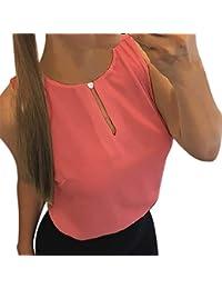 bc6f7df5ba VEMOW Camisetas Mujer Sólido O-Cuello sin Mangas sin Mangas de Las Mujeres  Camisetas Casuales
