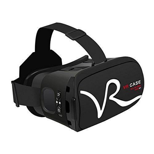 3D VR Brille, Hizek Virtual Reality Headset mit Kopfhörer Google Cardboard Upgrade-Version Film Spiele Helm für iPhone 7 / 6sPlus / iPhone6Plus ,Samsung Galaxy S7 / Galaxy S7 Edge, HUAWEI (Schwarz)