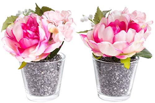 Flora-Seta GmbH künstliches Blumen-Arrangement im Glas (2 Stück) (Beauty, Creme, rosa, Pfingstrosen Hortensien) (Creme Hortensien Seidenblumen)