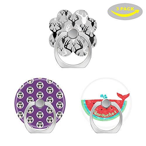 (OXone Fingerringhalter für Mobiltelefon, mit Drei Auto-Halterungen, Hirschgeweih-Muster, Niedliche Halloween-Eulen auf violettem Hintergrund, süße Nantucket Wale Wassermelone)