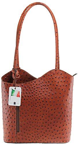 CTM Borsa da Donna a Spalla in Pelle di Struzzo, 28x30x9cm, Vera Pelle 100% Made in Italy Marrone
