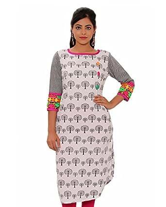 Latkan Girl's Cotton Regular Fit Kurti (LK15, White, 42)