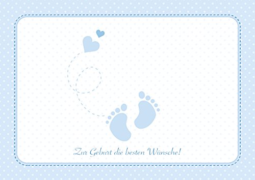 Erhältlich im 1er 4er 8er Set: Zur Geburt die besten Wünsche! Wunderschöne Klappgrusskarte/Glückwunschkarte/Geburtskarte/Babygrusskarte/Grusskarte für einen Jungen in Blau mit Baby - Füße und Herzchen (Mit Umschlag) (4)