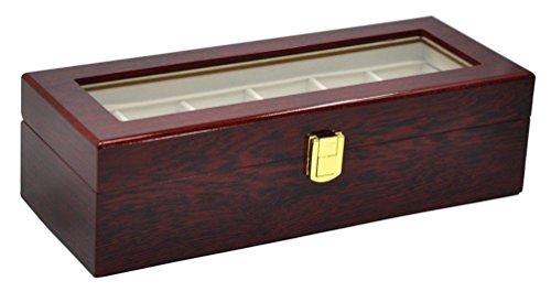 6griglie di legno orologio di vetro trasparente di visualizzazione box Purplish Red