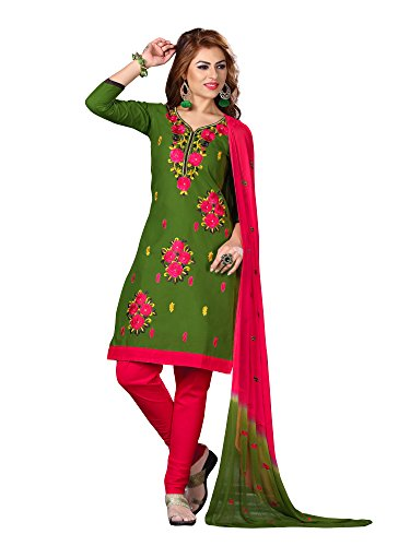 Oomph! Women's Cotton Unstitched Embroidered Salwar Suit Dupatta Dress Material, Pickle Green