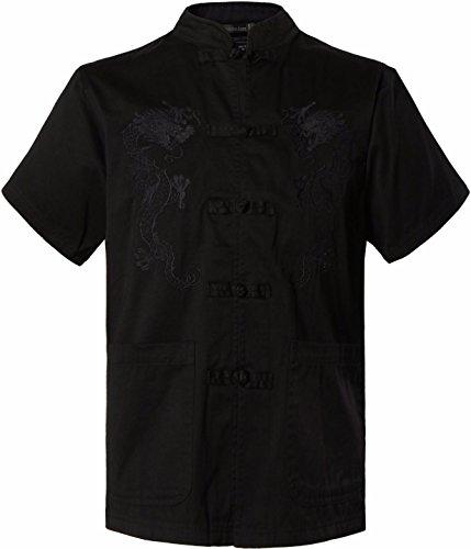 Jeansian Hombre Estilo Etnico Retro Cardigan Bordado de Dragon Camisa China Costume TangSuit Kungfu Taichi Tang Shirt L970 Black XL