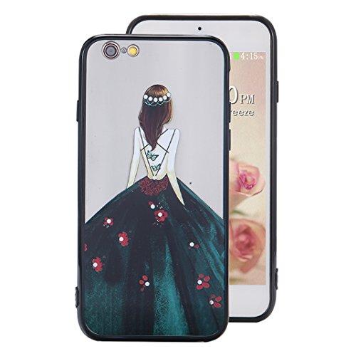 iPhone 6S Plus Spiegel Hülle, Rosa Schleife Weiche TPU Silikon Schutzhülle Handyhülle Backcover Glitzer Mirror Cases mit Schmetterling schönes Mädchen Muster Design für iPhone 6S Plus / 6 Plus Blaues  Grün Kleid