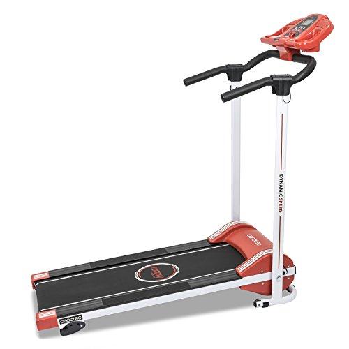 Cecotec - Cinta de andar RunFit Step con12 programas predefinidos. 1000 W de Potencia. Pantalla LED. 10 Km/h. Con Altavoces. Sistema seguridad magnético. Plegable (Rojo)