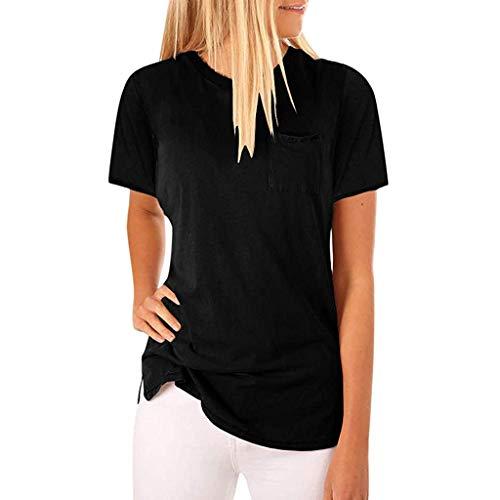 Frau Schläger-tank-shirt (Markthym Damen Tuniken T-Shirt Casual Bluse Tops Baumwolle Oberteil Shirt Damen Sommer O Neck Kurzarm Bluse Solid T Shirts mit Pocket Tops Einfarbiges Damen-Kurzarmtaschenoberteil)