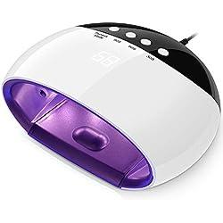 Sèche Ongles Vernis Lampe LED UV 45W Double Source Electrique Portable pour Nail Art avec Ecran d'Affichage, Lumière Inductive Auto On Off pour Tous Types Gels-Blanc