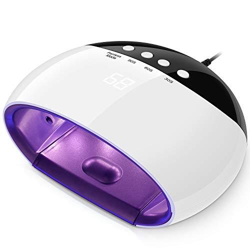 Professionelle Nagel-trockner (Trockner Nägel Lack Lampe UV-LED 45W Dual Source Portable Electric für Nail Art mit Display, induktives Licht Auto On Off für alle Arten Gele-Weiß)
