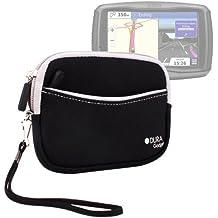 DURAGADGET Funda Negra De Neopreno Con Bolsillo Externo Para Navegador GPS Garmin Zümo 590 LM - Con Cuerda De Quita Y Pon Para Transportar