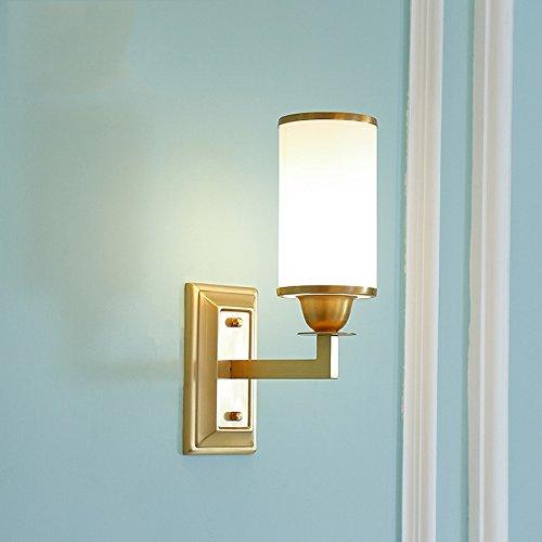 Cuivre Mur Lumière Américain Minimaliste Miroir Avant Den Chambre Tête De Lit Bureau Salon Entrée Décor Tête Simple Lampe Murale En Verre Clair Abat-jour (E27 Ampoules Non Inclus)