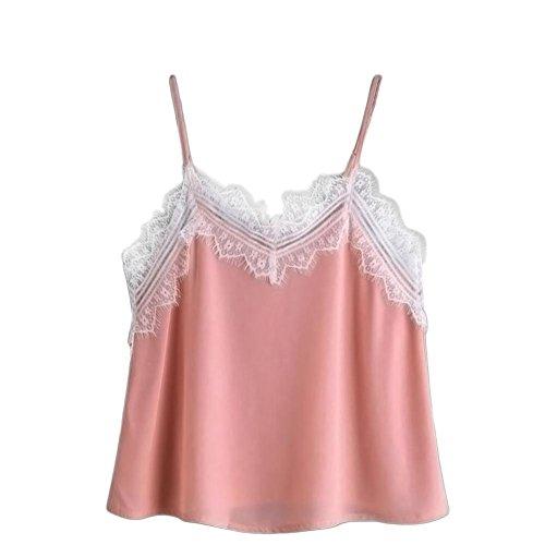 Crinkle Tank Top Shirt (OverDose Damen Lace Chiffon Vest Top Sleeveless Casual Tank Blouse Summer Tops T-Shirt Spitze Weste Sommer Blusen (S, B-Rosa))