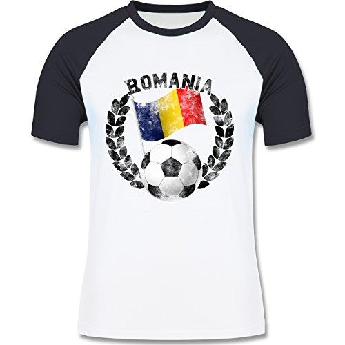 EM 2016 - Frankreich - Romania Flagge & Fußball Vintage - zweifarbiges Baseballshirt für Männer Weiß/Navy Blau