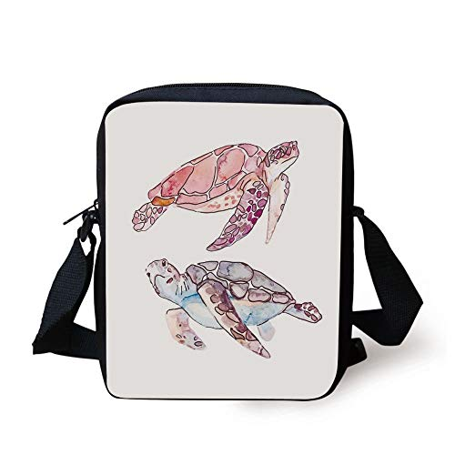 Turtle,Hand Painted Watercolor Artwork of Two Turtles Pastel Cute Underwater Theme,Pink Fuchsia Purple Print Kids Crossbody Messenger Bag Purse -
