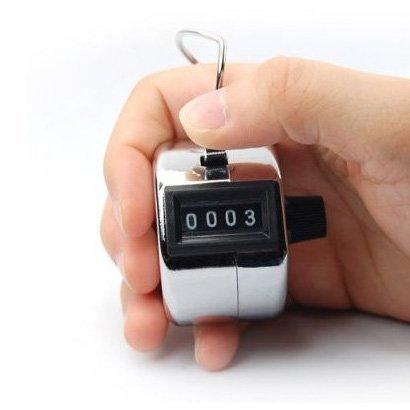 SODIAL(Wz. 4-stellige Zahl Clicker Zaehler Golf Handheld Rechner Zaehlwerk klick Zaehler Silbrig