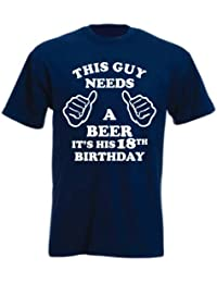 THIS GUY NEEDS A BEER..IT'S HIS 18TH BIRTHDAY' Navy Birthday Unisex T-Shirt
