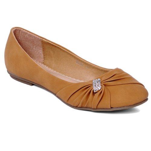 CASPAR Damen Schuhe / Ballerinas mit kleiner Strass-Schnalle - 3 Farben, Farbe:camel;Größe:39 (Kleine Strass-schnallen)