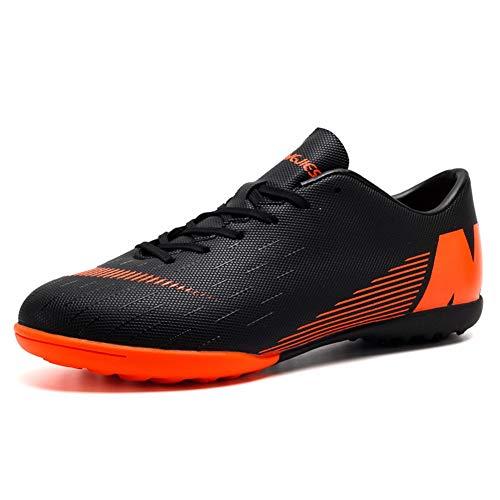 Botas de Fútbol Niño FG/TF Zapatillas Futbol Sala Niña Ligero Zapatos de Deporte Unisex Zapatos de Entrenamiento (39 EU, Black-r)
