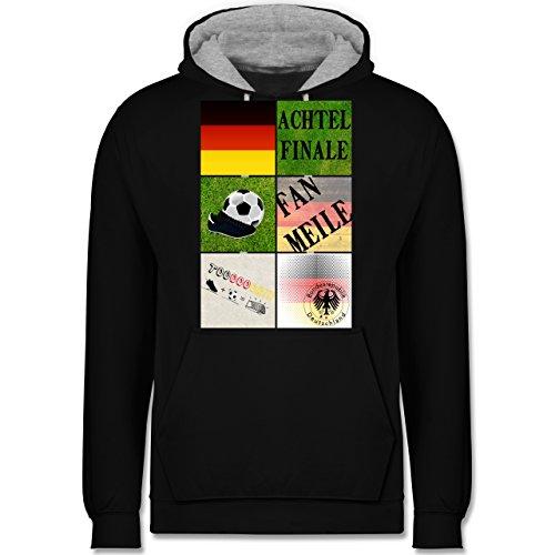 Fußball-WM 2018 - Russland - Deutschland Achtelfinale Fan Shirt - Kontrast Hoodie Schwarz/Grau Meliert