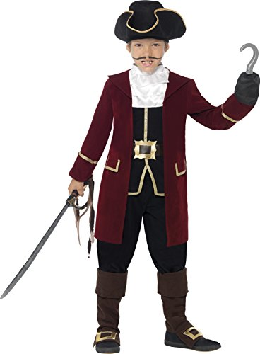 Smiffys, Kinder Jungen Piraten Kapitän Deluxe Kostüm, Jacke, Westenattrappe, Hose, Halstuch und Hut, Größe: M, (Kostüm Ideen 70's Jungs)