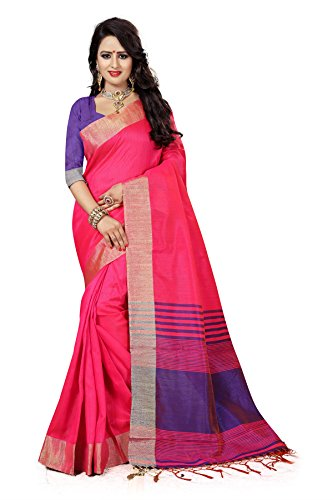 J B Fashion Women's silk pink Saree With Blouse Piece