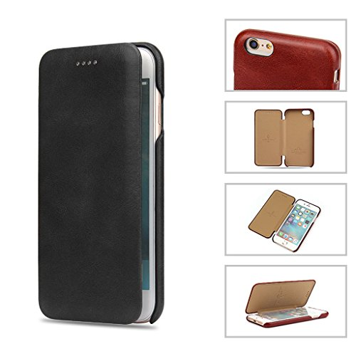 iPhone 6S Plus/6 Plus Echtem Leder Hülle,Careynoce Luxus Handgefertigt Echtem Leder Flip Schutzhülle für Apple iPhone 6S Plus iPhone 6 Plus(5.5 Zoll) -- Rot M02