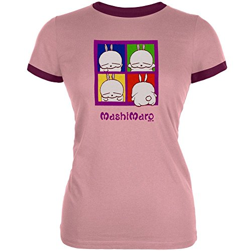 MashiMaro – Pop Art Junioren Ringer T-Shirt Gr. X-Large, hellrosa (T-shirt Junioren-ringer)