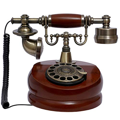 JNYTD EuropäIsches Retro-Telefon/Antik-Telefon, Holz- Und MetallgehäUse, Funktionsdrehzifferblatt, Retro-Wohnaccessoires-Dekoration