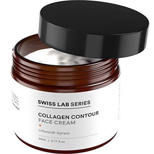 Collagen Creme für Gesicht, Augen und sensible Haut - Anti Wrinkle Cream mit Liftonin für Anti-Aging, gegen dunkle Augenringe und Falten für Frauen und Männer - 60 ml Swiss Lab Series