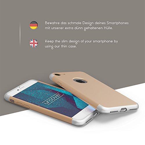 Urcover® Apple iPhone 7 Back-Case in Rot | PC Cover Handy Schutz-Hülle | dünne leichte Handyhülle | Ultra Slim Schale | Smartphone Zubehör Tasche Gold