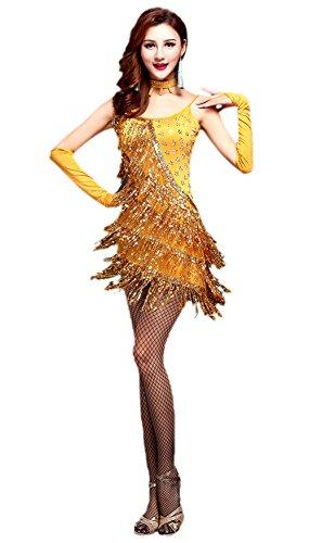 Kostüm Marokkanische Frauen (Honeystore 2017 Neuheiten Damen Quasten Swing Rhythmus Jazz Latein Dance Kleid mit Pailletten Gelb)