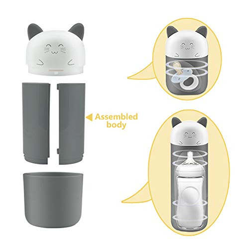 HopeU5 Nettes Lächeln Outdoor Travel Tragbare Babyflasche Sterilisator Säuglingsmilchflasche Sterilisatoren UV und Ozon Doppel Sterilisation (Grau)