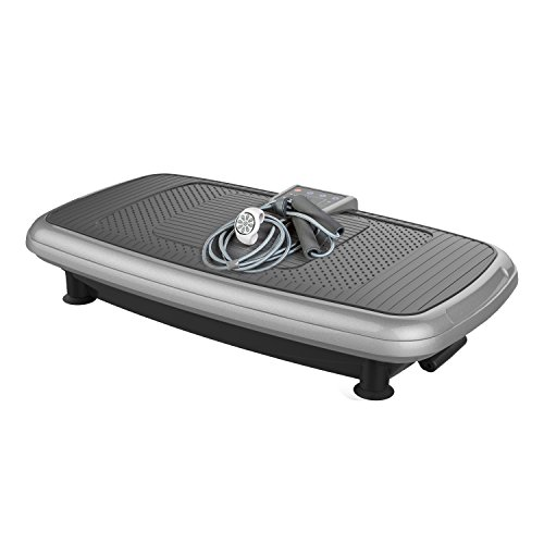 JUFIT Plateforme Vibrante Oscillante Professional Vibro Shaper Power Plate, 3 Programmes, 30 Niveaux de Vitesse, Télécommande Au Poignet, Argent