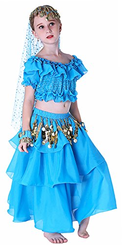 Fairytown Karneval Halloween Kinder Mädchen Bauchtanz Kostüm Anzug 152/164 Blau (Blaue Halloween-kostüme)