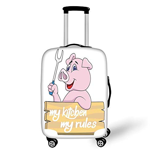 24-zoll-grill (Travel Luggage Cover Suitcase Protector,Kitchen Decor,Pig Chef Holding BBQ Barbeque Fork Tongs Fast Food Mascot Character Grill Wood Menu,Pink White,for Travel,M)