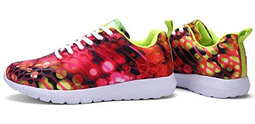 NEWZCERS Unisexe jolie mode chaussures de sport courir des espadrilles Rouge
