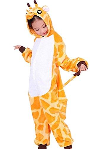 JT-Amigo Kinder Pyjama Strampler Schlafanzug Tier Kostüm für Halloween Karneval Fasching, Giraffe Kostüm, Gr. 140/146 (Herstellergröße (Baby Kostüm Giraffen)