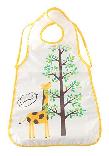 Cloud Kids 1 Pack Baby Lätzchen mit Auffangschale Wasserdicht Baby Bib Kinderlätzchen mit Druckknopf 59x34cm Gelb (Lernen, Zu Zeichnen, Cartoons Für Kinder)
