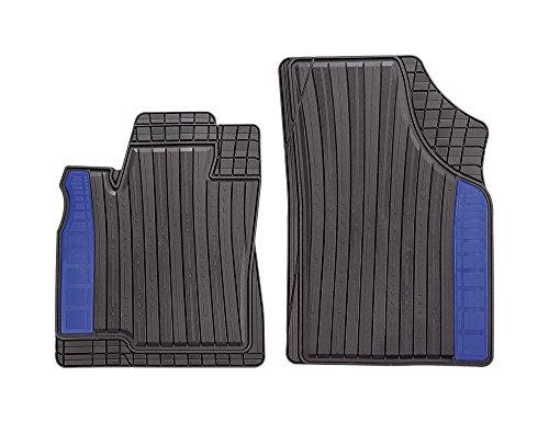 CarFashion 267236 Silverstone | Allwettermatte CD2 | Matten Vorne 2-Teilig | TPE Gummimatte Schwarz | Farbiger Einsatz in Aruba Blau | Auto Fußmatten Set Ohne Mattenhalter