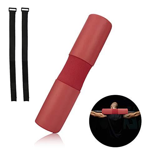rainday Barbell Kniebeugenpolster, Schulterschützer mit sicherem Klettverschluss für Schultern, Nacken, Rückenschutz bei Kniebeugen, Lunges und Hüftstoßen, passend für olympische Stangen, Herren, rot