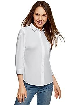 oodji Ultra Mujer Camisa con Mangas 3/4 y Bolsillo EN el Pecho